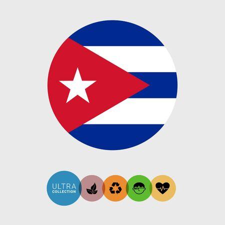 Conjunto de iconos del vector con la bandera de Cuba