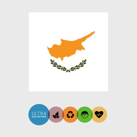 Set of vector icons with Cyprus flag Illustration