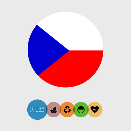 attribute: Set of vector icons with Czech Republic flag
