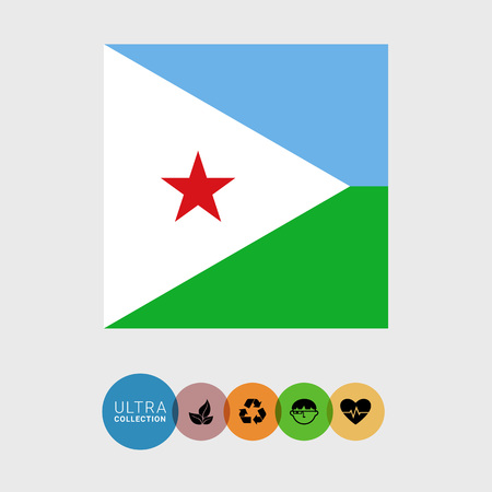 Set of vector icons with Djibouti flag Illustration