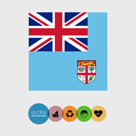 Set of vector icons with Fiji flag Illustration