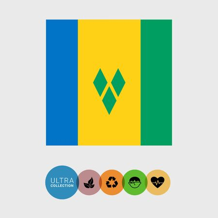 attribute: Set of vector icons with flag of Saint Vincent and the Grenadines Illustration