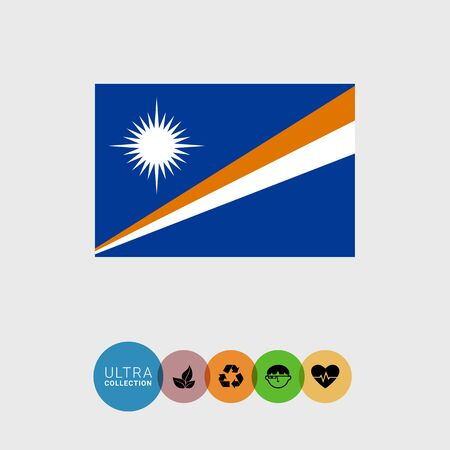 attribute: Set of vector icons with flag of the Marshall Islands Illustration