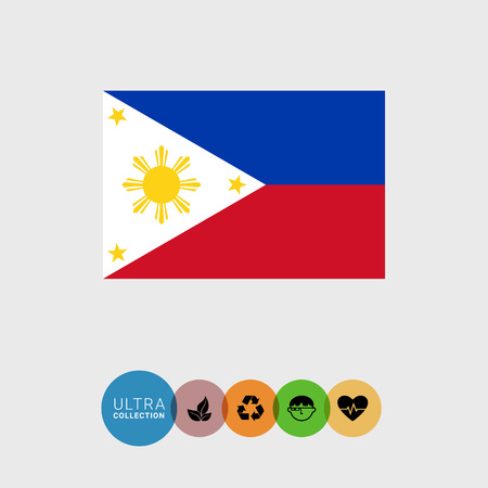 features: Set of vector icons with flag of the Philippines