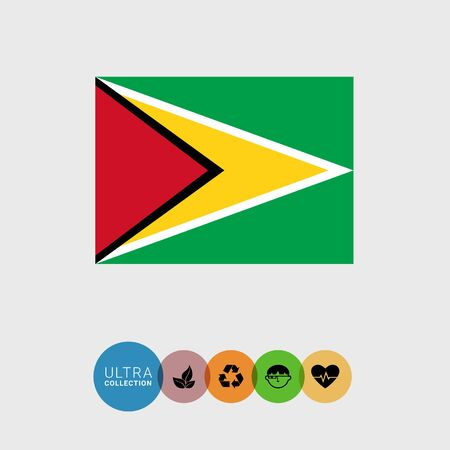 attribute: Set of vector icons with Guyana flag