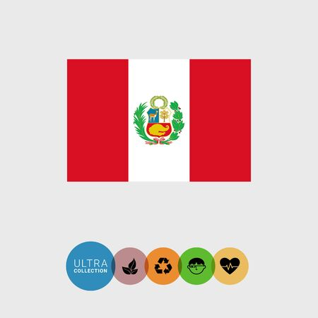 attribute: Set of vector icons with Peru flag Illustration