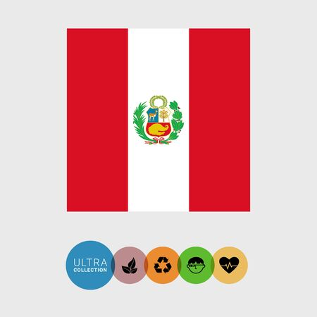 palm wreath: Set of vector icons with Peru flag Illustration