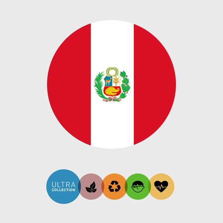 on top of the world: Set of vector icons with Peru flag Illustration
