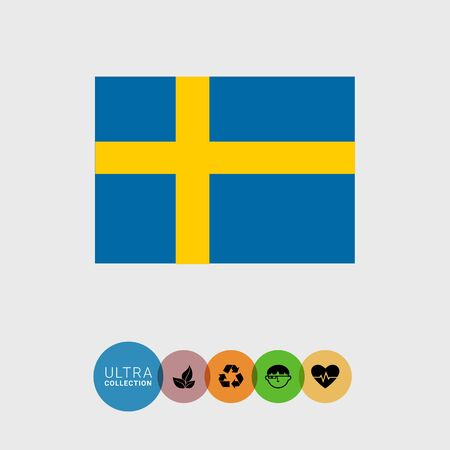 attribute: Set of vector icons with Sweden flag