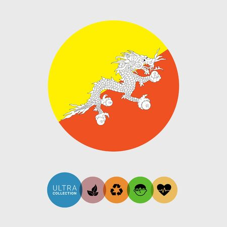 Set of vector icons with Bhutan flag