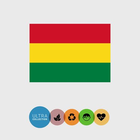 bandera de bolivia: Set of vector icons with Bolivia flag