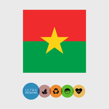 attribute: Set of vector icons with Burkina Faso flag Illustration