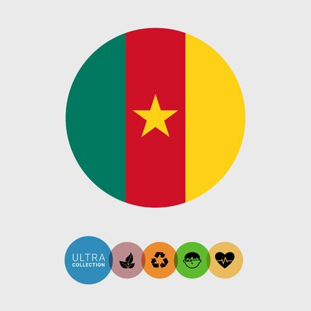 Set of vector icons with Cameroon flag