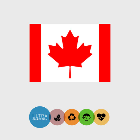 Set of vector icons with Canada flag