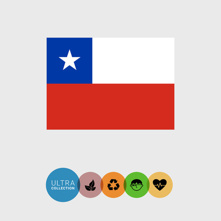 chilean: Set of vector icons with Chile flag