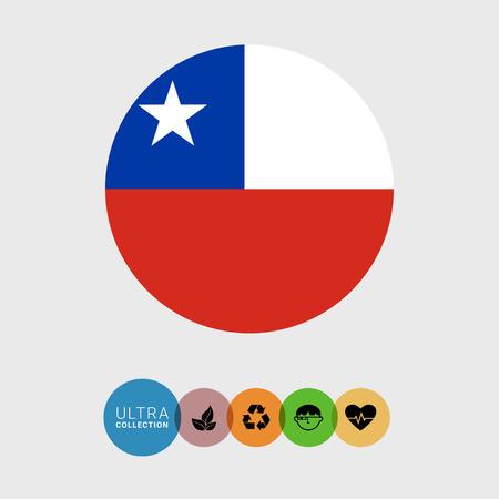 bandera de chile: Conjunto de iconos del vector con la bandera de Chile Vectores