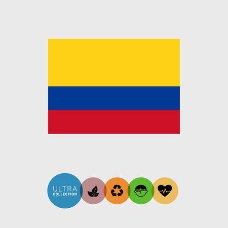 Ensemble d'icônes vectorielles avec le drapeau de la Colombie Vecteurs