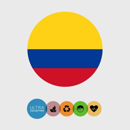 Set of vector icons with Colombia flag