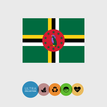 Set of vector icons with Dominica flag