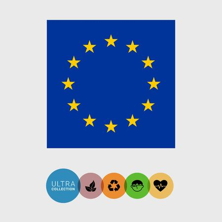 attribute: Set of vector icons with European Union flag
