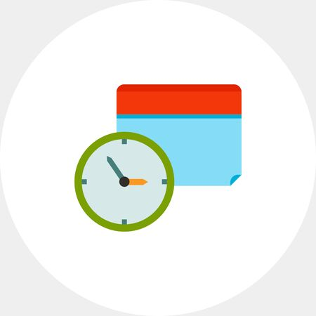 Calendar Time Icon with Clock