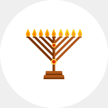 Chanukah menorah flat icon