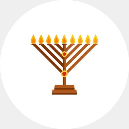 Chanukah menorah flat icon