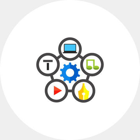 Media player, pen nib, music, laptop, t symbols around gear. Content management, writing, website. Content management concept. Can be used for topics like social media, content management, advertising Illustration