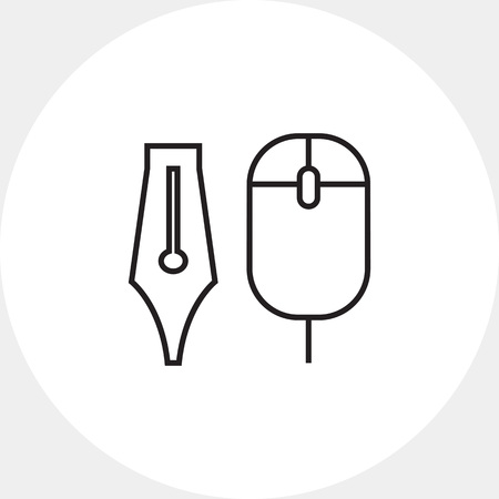 scrolling: Icon of computer mouse and ink pen nib