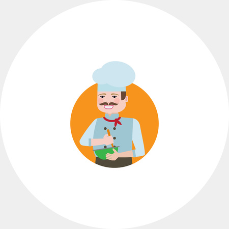 neckerchief: Male character, portrait of male chef with moustache, mixing ingredients in bowl