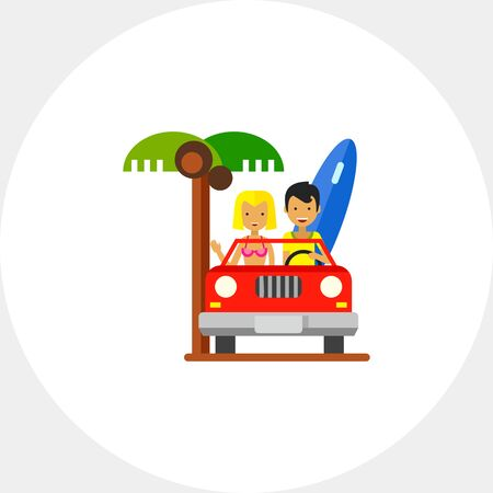 Couple Driving Cabriolet Icon