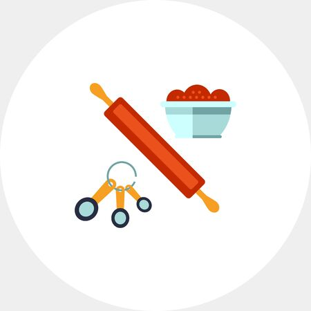 Multicolored vector icon of kitchen cooking set with rolling pin, spoon set and bowl Stock Photo