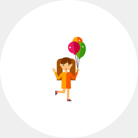 child holding sign: Girl with Balloons Icon Illustration