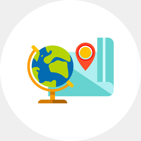 Globe and Map as Geography Concept Icon