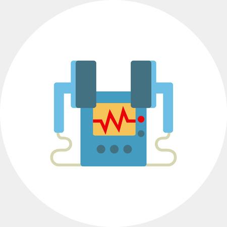 defibrillator: Heart defibrillator icon Illustration