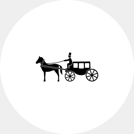 brougham: Horse Coach Icon Illustration