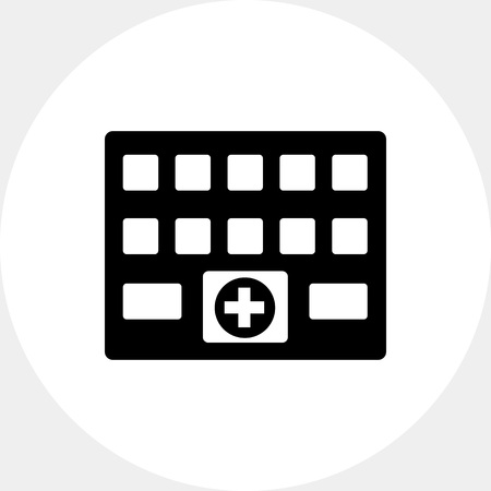 hospitalization: Hospital Building with Cross Sign Icon