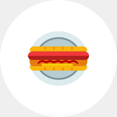 hot plate: Hot dog on plate