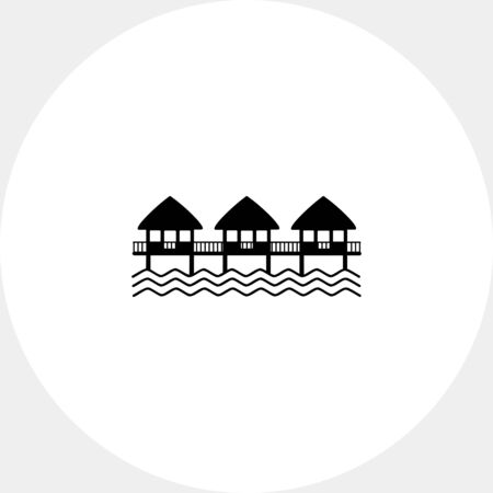 architecture bungalow: Hotel on Water Icon