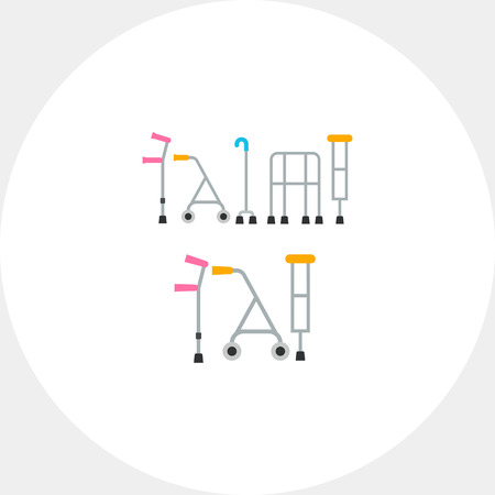 infirmity: Multicolored flat icon of five different types of crutches