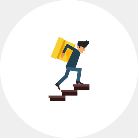 upstairs: Multicolored vector icon of delivery man carrying heavy box upstairs