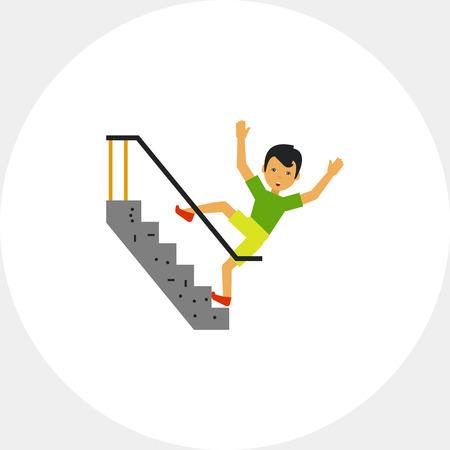 down the stairs: Que cae abajo escaleras plana Icono