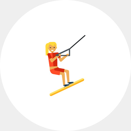 Female Water Skier Icon Illustration