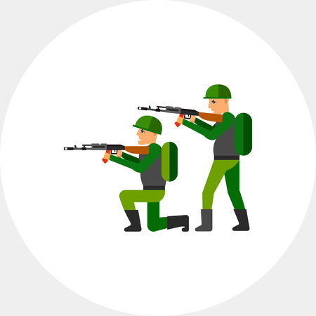 arming: Fighting Concept Icon with Military Men Stock Photo