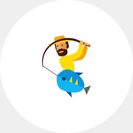 yellow adventure: Fishing Process Concept Icon