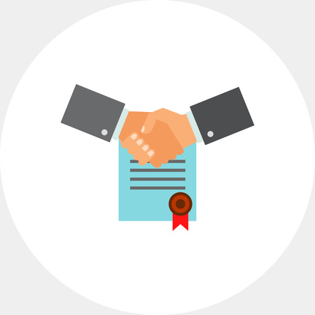 convention: Multicolored vector icon of two shaking man hands on background of signed contract with red seal representing business commitment