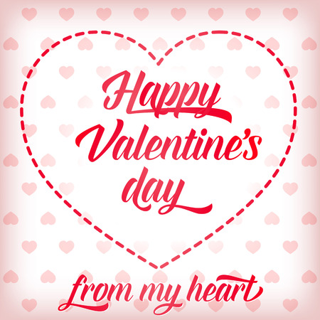 Happy Valentines Day from My Heart calligraphic lettering. Pink Valentines Day greeting card with hearts. Handwritten text, calligraphy. For greeting cards, posters, leaflets and brochure Ilustrace
