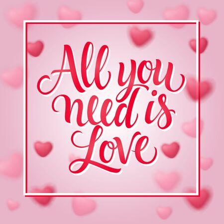 所有你需要的是爱的字母与框架插图