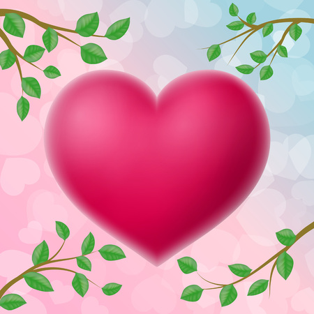 Big 3d heart and four tree branches. Saint Valentines Day design element. For greeting cards, posters, leaflets and brochures. Vettoriali