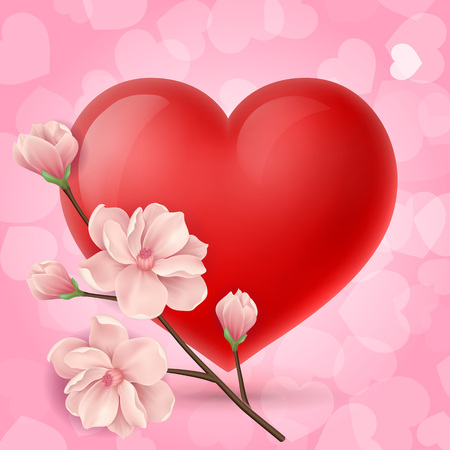 Big red heart, pink hearts pattern in background and twig with flowers. Saint Valentines Day design element. For greeting cards, posters, leaflets and brochures.